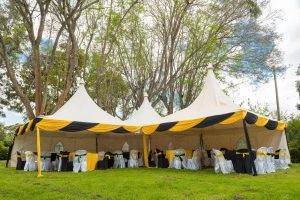 he tranquil lush mature gardens covered by tree canopies Wedding grounds